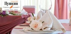 Проведение банкета в ресторане «Трактир Пушкин»: мясное и сырное ассорти, овощи