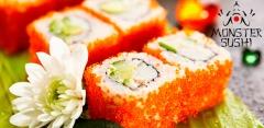 Всё меню службы доставки Monster Sushi за полцены